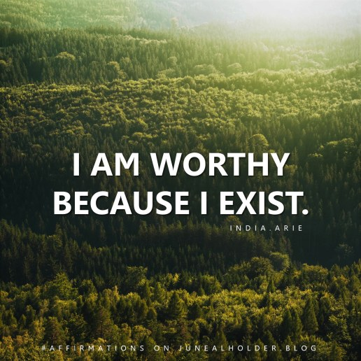 """""""I am worthy, and I'm significant, and I matter, because I exist. Not because of my accomplishments, but because I exist. And I'm deemed no less worthy by anything I've done or anything that has been done to me."""" - India.Arie"""